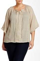Wapi Embroidered Oversized Peasant Blouse Plus Size Beige