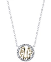 Unwritten Initial 'U' Pendant Necklace With Crystal Circle In Sterling Silver And Gold Flash Two Tone