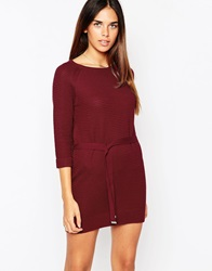 Warehouse Knitted Belted Tunic Darkred