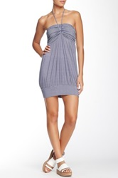 Angie Strapless Striped Bandeau Dress Blue