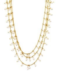 Anne Klein Gold Tone Three Row Imitation Pearl Layered Necklace