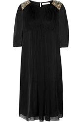 Matthew Williamson Embellished Silk Georgette Dress Black
