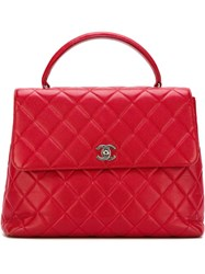 Chanel Vintage Quilted Tote Red