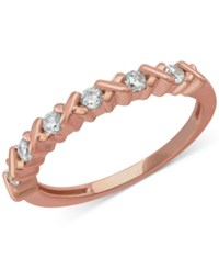Macy's Diamond Crisscross Band 1 4 Ct. T.W. In 14K Rose Yellow Or White Gold Rose Gold