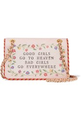 Moschino Good Girls Go To Heaven Embroidered Leather Shoulder Bag Pink