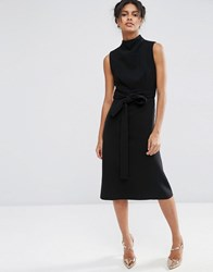 Asos High Neck Sleeveless Dress With Open Back Black