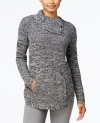 Styleandco. Style Co. Petite Marled Envelope Neck Sweater Only At Macy's Warm Ivory Black Combo