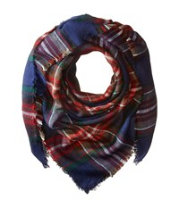 Steve Madden Classic Plaid Square Scarf Navy Scarves