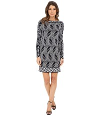 Michael Michael Kors Boat Neck Border Dress New Navy Women's Dress