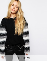 Story Of Lola Sweatshirt With Fluffy Striped Faux Fur Sleeves