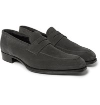Kingsman George Cleverley Newport Suede Penny Loafers Anthracite