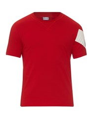 Moncler Gamme Bleu Crew Neck Cotton Jersey T Shirt Red