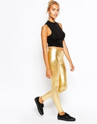 American Apparel High Rise Leggings In Metallic Gold Lamegold