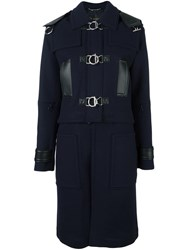 Versace Convertible Leather Trimmed Coat Blue