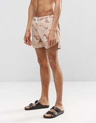 Cheats And Thieves Mid Length Swim Shorts In Camo Beige Grey