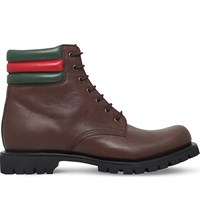 Gucci Marland Leather Boots Dark Brown