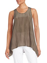 Eileen Fisher Silk Asymmetrical Tunic Taupe