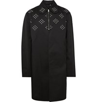 Raf Simons Grommeted Coated Cotton Twill Trench Coat Black
