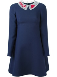 Valentino Amour Beaded Collar Dress Blue