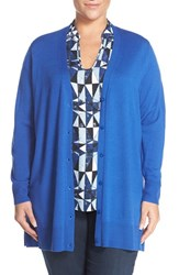 Sejour Plus Size Women's V Neck Merino Blend Cardigan Blue Mazarine