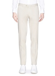 Isaia Cotton Slim Fit Chinos Neutral