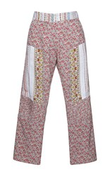 N 21 No. Paz Floral Print Cropped Pants Red Green White