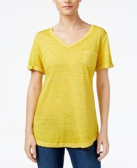 Styleandco. Style Co. V Neck Burnout Pocket Tee Only At Macy's Saffron Yellow