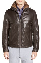 Andrew Marc New York Men's Marc New York By Andrew Marc 'Flycroft' Leather Moto Jacket With Genuine Rabbit Fur Lining Espresso