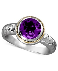 Effy Collection Balissima By Effy Amethyst Round Ring 1 5 8 Ct. T.W. In Sterling Silver And 18K Gold