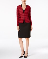 Tahari By Arthur S. Levine Asl Striped Jacket Faux Leather Trim Skirt Suit Red Black