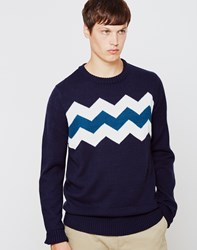The Idle Man Zig Zag Stripe Jumper Navy