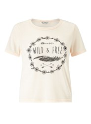 Miss Selfridge Soft Pink Wild And Free Tee Beige