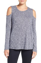 Bobeau Women's Cold Shoulder Ribbed Sweater Navy