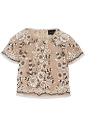 Needle And Thread Petal Embellished Tulle Top Beige