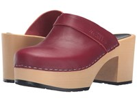 Swedish Hasbeens Louise Wine Red Women's Clog Shoes