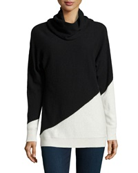 Neiman Marcus Cashmere Colorblock Tunic Black White
