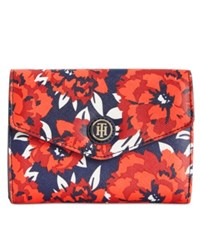 Tommy Hilfiger Th Enamel Serif Logo Printed Wallet Red Navy