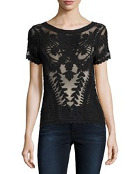 Dex Short Sleeve Lace Blouse W Embroidered Trim Black
