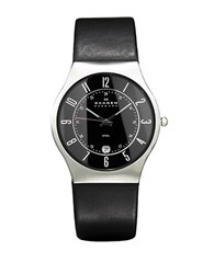 Skagen Mens Black Dial Watch With Black Leather Strap Silvertone
