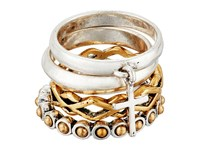Lucky Brand Cross Two Tone Ring Stack Two Tone Ring Metallic