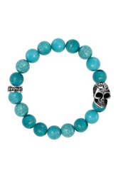 King Baby Studio Sterling Silver Skull And Turquoise Beaded Stretch Bracelet Blue