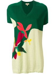 Delpozo Intarsia Knit V Neck Dress Green
