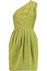Halston One Shoulder Pleated Jacquard Mini Dress Yellow
