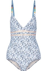 Stella Mccartney Beaded Mesh Trimmed Printed Swimsuit Light Blue