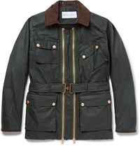 Private White V.C. Suede Trimmed Waxed Cotton Field Jacket Green