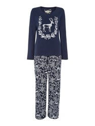 Dickins And Jones Stag Jersey Pj Set Navy