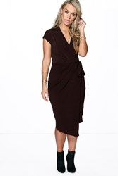 Boohoo Nicole Wrap Front Midi Dress Chocolate