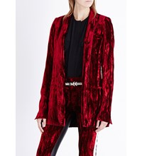 Haider Ackermann Crinkled Velvet Blazer Red Green Ribbon Black
