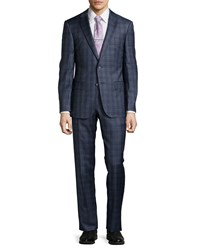 Hugo Boss T Howard2 Court Wool Blend Two Piece Suit W Plaid Print Open Blue
