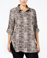Calvin Klein Plus Size Printed Tunic Shirt Washed Pebble